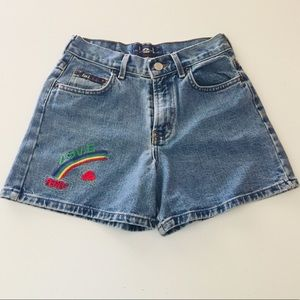Rainbow Peace and Love Sewn Denim Shorts